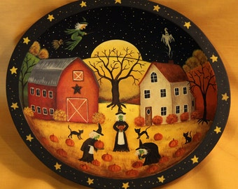 Halloween Folk Art Trick or Treat Wood Bowl, Primitive Painting, Three Witches Picking Pumpkins, Ghost, Barn, Saltbox House, MADE TO ORDER