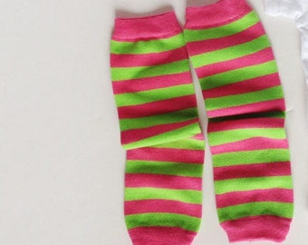 custom goodie for amy PLAIN Pink and Green Striped Leg Warmers