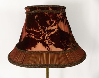 Lamp Shade Oval Hand Made Burgundy Hollywood Regency Cut Velvet Silk Deco