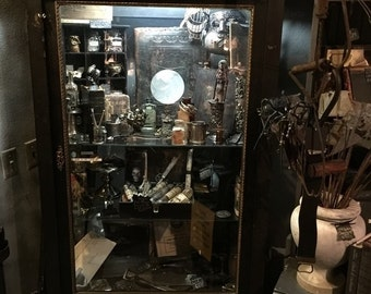 Tall Ornate Antique Black and Gold Display Case Cabinet at Gothic Rose Antiques