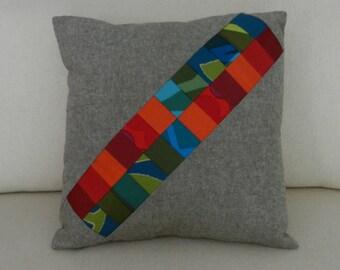 Marimekko Patchwork Pillow Cover, Modern Fiber Art, Rainbow Quilt, 18 x 18 inches