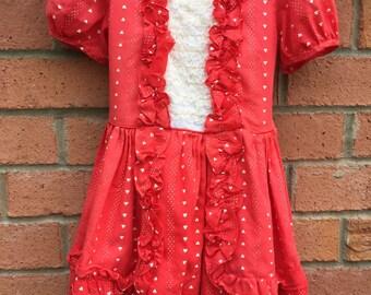Beautiful Vintage Girl's Martha's Miniatures Brand Red Dress