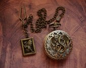 Not just a Dragon Pocket Watch, it's a Wicked Wyvern Quartz Pocket Watch w. rampant DRAGON book locket on single albert chain