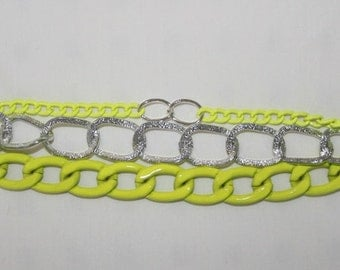 Lime green and silver bracelet