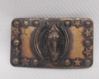 Vintage Belt Buckle Antiqued Copper Horse head Western Horseshoe Stars