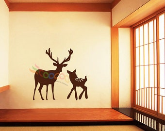 Wall Decal, wall Stickers ,Tree Wall Decals ,Wall decals, Nursery wall decal,Children wall decals, Removable, deer, Buck,Fawn