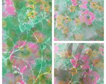 Gorgeous 1950's 60's Shabby Sheer Green  Fabric Adorned With Bright Hot Pink And Yellow Velvety Flocked Flowers ~ Sold By The Yard
