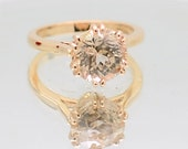 CERTIFIED  Untreated 2.78 carat natural champagne peach sapphire, solitaire engagement ring  Solitaire-2200