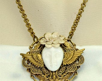 Art Deco Victorian Winged Angel Moon Goddess Face Pendant Necklace