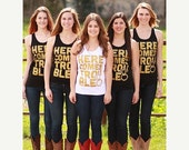 VALENTINES WEEKEND SALE Bachelorette Party Tank Tops | Here Comes Trouble | Metallic Gold
