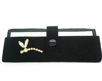 Nail File Purse Mirror.  Mirror Compact. Manicure Kit. Suede Case. Rhinestone Dragonfly. Bridesmaid Gift. Vintage 1950s Vanity Accessory