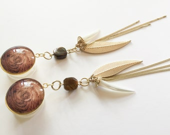 "28mm 1 1/8"" Dangle Plugs 7/8"" 22mm 1"" 25mm Gauges Gold Tassel Chain Pearl Horn Tigers Eye Plugs Long Dangle One Inch Wood/Acrylic/Steel"