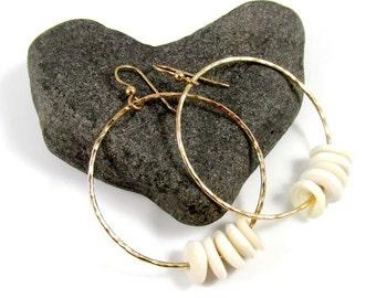 Gold Hammered Hoops, Hawaiian Puka Shell Hoop Earrings, Hawaii Beach Jewelry, Handmade Maui Hawaii, Christmas Gift Idea, White Puka Shells
