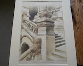 Senate Staircase, New York State Capital, Albany, New York, 1898. Hand Colored, Original Plan, Architecture, Vintage, Antique, Illustration