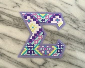 Iron on Greek Letters - set of 3 in purple tribal