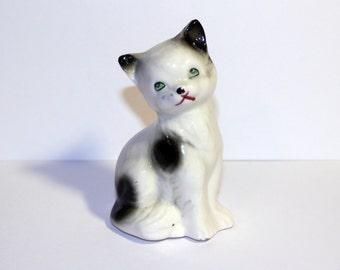 Vintage Black and White Ceramic Cat, Made in Japan Ceramic Cat Figure