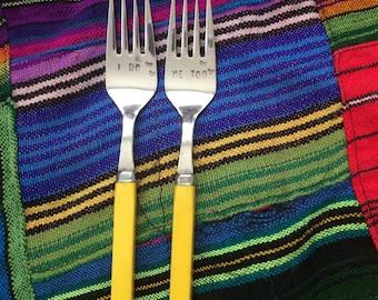 i do, me too - hand stamped wedding forks