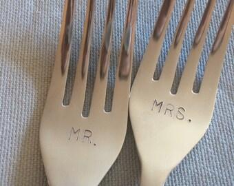 Mr. Mrs. - hand stamped wedding forks