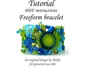 PDF tutorial, Beading pattern tutorial instructions, Freeform beaded cuff bracelet tutorial, digital download,