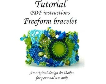 PDF tutorial, Beading pattern tutorial instructions, Freeform beaded cuff bracelet tutorial, digital download
