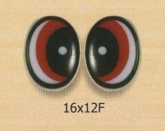 16mmx12mm Plastic Oval Comic Eyes / Safety Eyes / Printed Eyes - 5 Styles