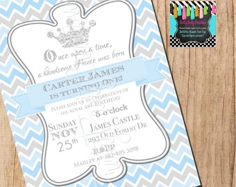 BLUE and SILVER PRINCE Chevron invitation - baby shower or birthday - You Print