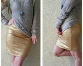 NEW! Gold Pencil Sequin Skirt 20 inches - Stretchy, beautiful knee length skirt (Small, Medium, Large, XLarge)