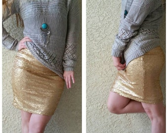 Dusty Gold Pencil Sequin Skirt 20 inches - Stretchy, beautiful knee length skirt (Small, Medium, Large, XLarge)