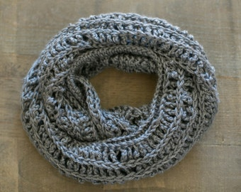 Crocheted Infinity Scarf in Gray, Infinity Scarf, Crocheted Circle Scarf, Crocheted Scarf, Eternity Scarf