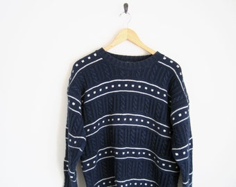 Vintage 90s Sweater. Vintage Gap. Navy Blue Knit Sweater Jumper. Cable Knit Sweater. Polka Dot & Stripe Pullover. Unisex Mens Vintage