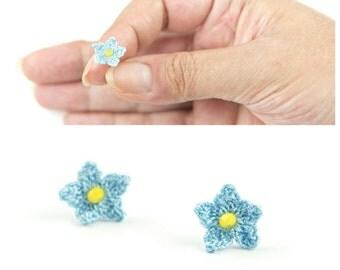 Earrings-Small Cute Crochet Blue Flower Stud Earrings, Bohemian Jewelry, Forget-me-not Post Earrings, Floral Stud Earrings, Fiber Jewelry