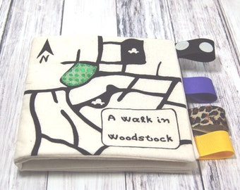 Souvenir Woodstock Baby Fabric Book, Upstate New York Baby Gift, Woodstock New York, NY Baby Shower, Woodstock festival Gift, hippy baby