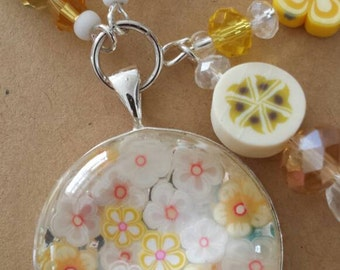 Sale was 18 now 16uk Orange White and Yellow  Faux Milli Fiori Necklace .