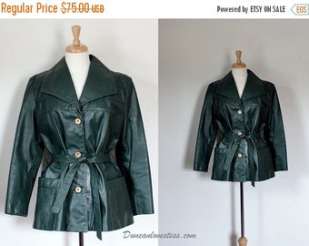 THE LOVE SALE 70s Jacket / 70s Leather Jacket / Green Leather Jacket / 70s Trench Coat / 70s Leather Trench Coat