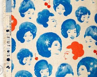 Fruit Dots CANVAS Dottie's Friends in Cobalt Blue, Melody Miller, Cotton+Steel, RJR Fabrics, Cotton and Linen Blend Canvas Fabric, 0032-12