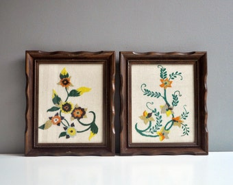 Pair of Framed Vintage Crewel Embroideries