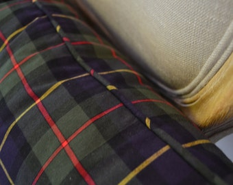 Tartan Plaid Lumbar Christmas Home Decor Pillow Cover with Matching Welt Trim