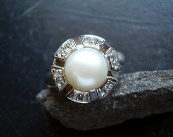 Genuine Cultured Pearl & White Topaz Halo Ring - Solid Sterling Silver Ring - Alternative NonTraditional Engagement Ring - June Statement