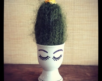 Cute Crochet cactus in an egg cup. House warming, anniversary gift. Amiguarmi. Home, office, nursery decoration. UK seller