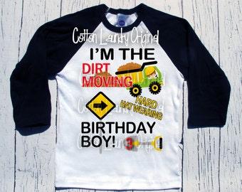 construction birthday shirt construction bday | party themed |birthday | shirt | baseball | raglan style