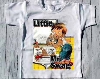 "BOYS Tee Shirt short sleeve ""Little Mr Swag"" short sleeve tee shirt Fathers Day"