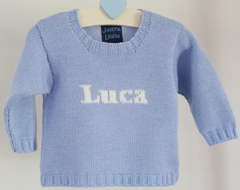 Boys Personalized Knitted Name Sweater, Baby Blue and Cream, Merino Wool, Baby Boy Clothing