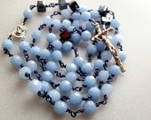 Rosary in Periwinkle, Hand Wrapped Rosary, Confirmation Rosary, My First Adult Rosary, free shipping