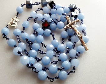 Rosary in Periwinkle, Hand Wrapped Rosary, Confirmation Rosary, My First Adult Rosary