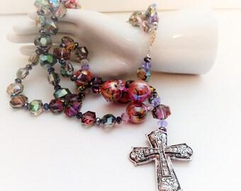 Shiny Rosary, Big Rosary, Pink Rosary, Purple Rosary, Catholic Rosary, Baptism Rosary, Wedding Present, Confirmation Rosary