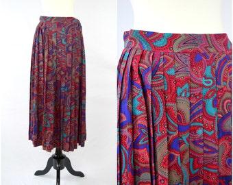 Vintage fuschia paisley pleated rayon skirt / jewel tones pattern midi skirt