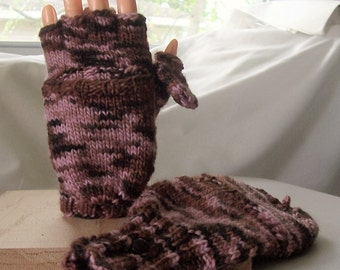 Wool convertible mittens / fingerless gloves, size S, flip top mittens with flip thumb