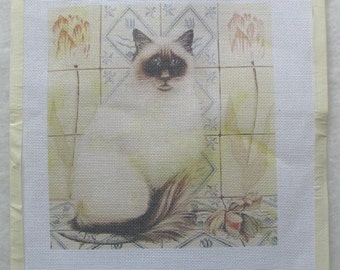 Chubby Siamese Cat Needlepoint/Tapestry Canvas Unused