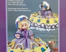 """20%OFF Fibre Fiber Craft EASTER PARADE 13"""" Music Box Doll or 10 1/2"""" Pillow Doll - Crochet Doll Dress Clothes Clothing Pattern"""