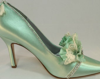 Mint Green Marie Antoinette Bridal Heels, Lace And Rhinestone Heels Soft Green Heels, Bridal Heels Green Pumps